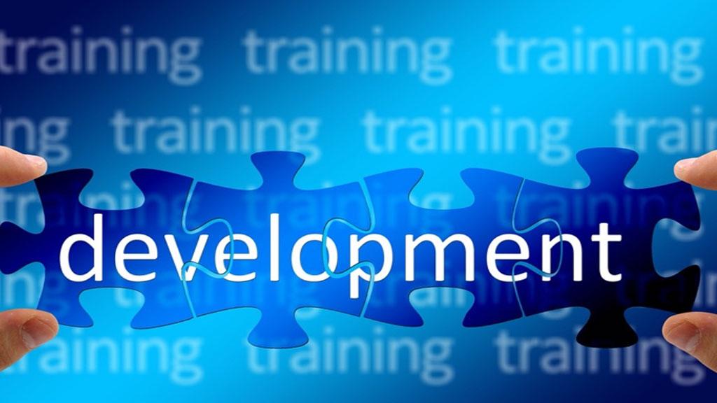 4 pieces de puzzle où il y a ecrit development